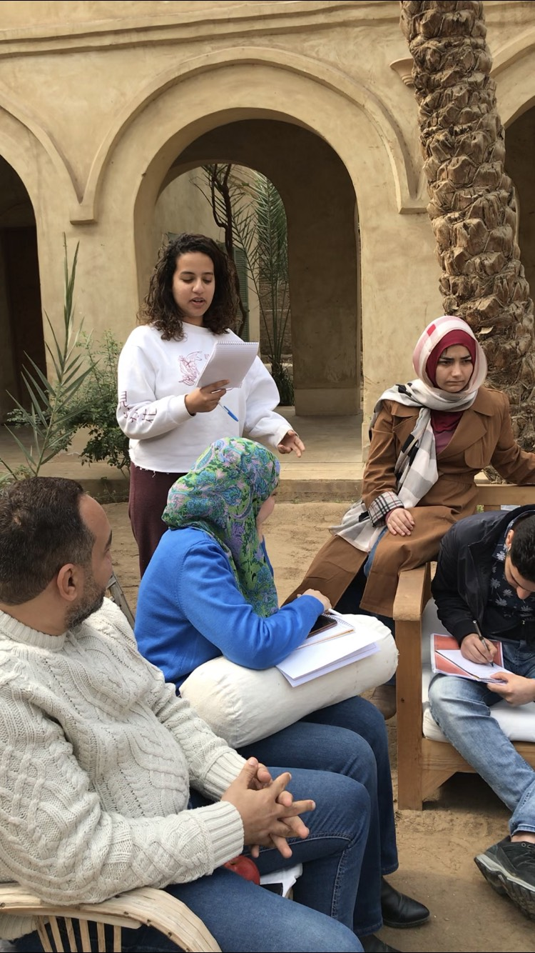 Participants at the Egypt Narratives Project training tell stories