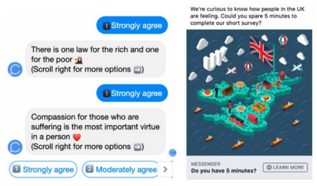 Questions shown on Facebook Messenger (left) and Facebook advertisements (right)